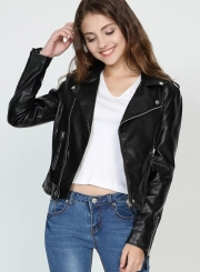 Black Classic PU Leather Jacket