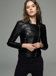 Biker Moto PU Leather Jacket For Women