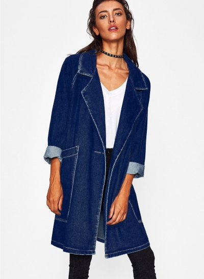 Deep Blue Long Denim Coat  Trench Coat Outwear