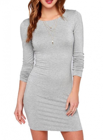 Casual Round Neck Long Sleeve Solid Color Bodycon Dress