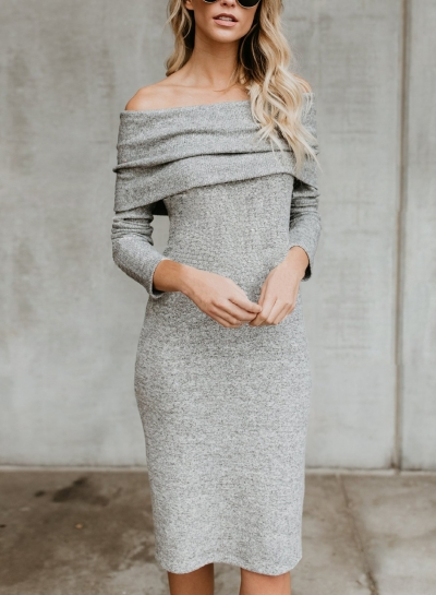 Grey Women's Off Shoulder Bodycon Long Sleeve Sweater Midi Dress