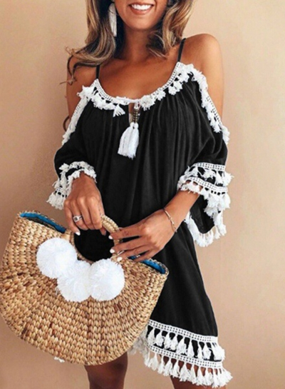 Casual Loose Short Sleeve Strappy Off The Shoulder Mini Dress With Tassel