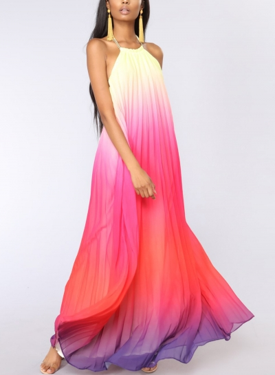 Red Sexy Chiffon Halter Top Sleeveless Backless Dye Loose Maxi Dress