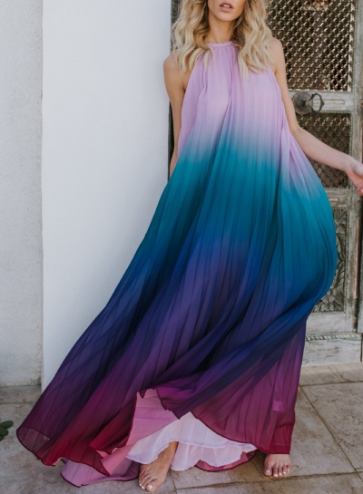 Sexy Chiffon Halter Top Sleeveless Backless Dye Loose Maxi Dress