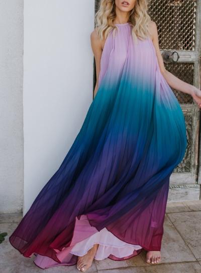 Sexy Chiffon Halter Top Sleeveless Backless Dye Loose Maxi Dress STYLESIMO.com