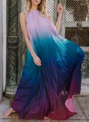 Sexy Chiffon Halter Top Sleeveless Backless Dye Loose Maxi Dress