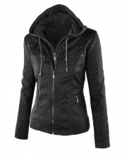 s Long sleeved pure color  Hooded Faux leather Jacket