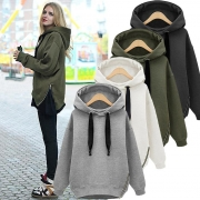 Loose Drawstring Plush Long Sleeve Hoodie