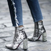 Velvet High Heel Ankle Boots