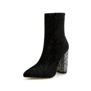 Velvet High Heel Ankle Boots