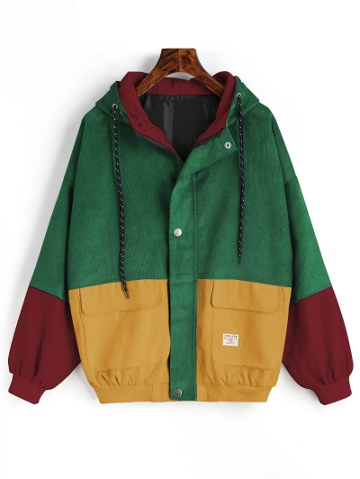 Hooded Color Block Corduroy Jacket