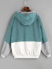 Hooded Color Block Corduroy Jacket