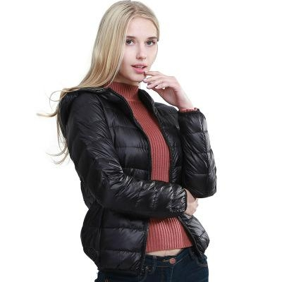 Lightweight Water-Resistant Packable Hooded Down Jacket