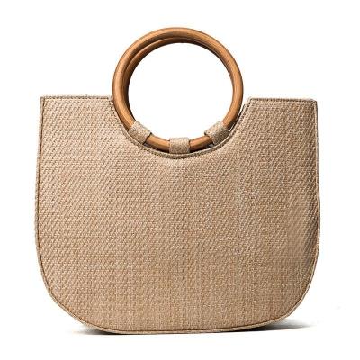Handle Tote Shoulder Handbag with Wood Ring