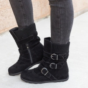 All Season Adjustable Buckle Low Heel Faux Suede Boots