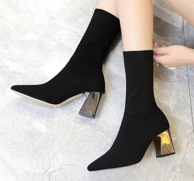 Ankle Elastic Sock Boots Chunky High Heels Pointed Toe Women Pump