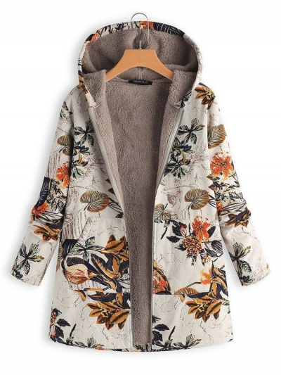 Vintage Leaves Floral Print Hoodie Long Sleeve Coat