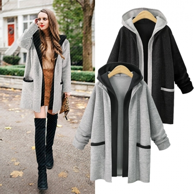 Hooded Coat Two False Pieces Knit Cardigan