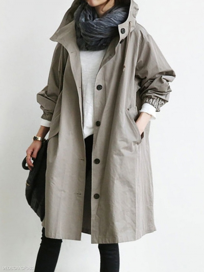 Oversize Hooded Flap Pocket Plain Long-line Coat