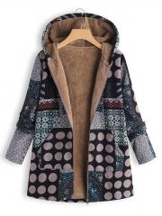Polka Dot Long Sleeve Casual Coat