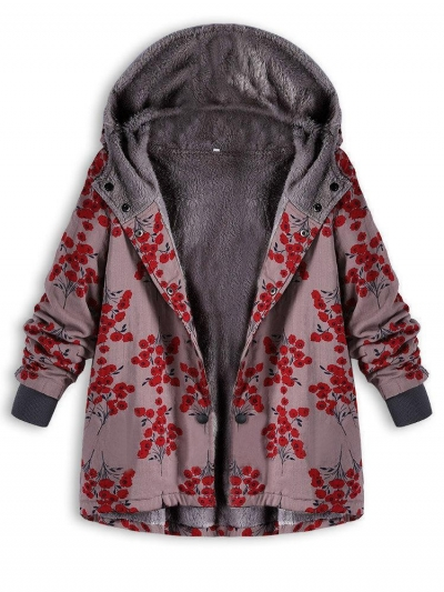 Casual Floral Pockets Long Sleeve Zipper Coat