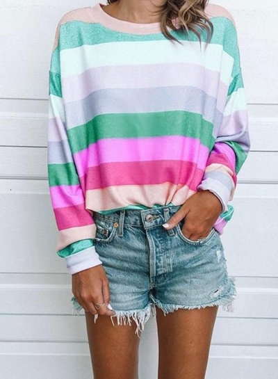 Fashion Rainbow Colourful Striped Casual Tops T-Shirt