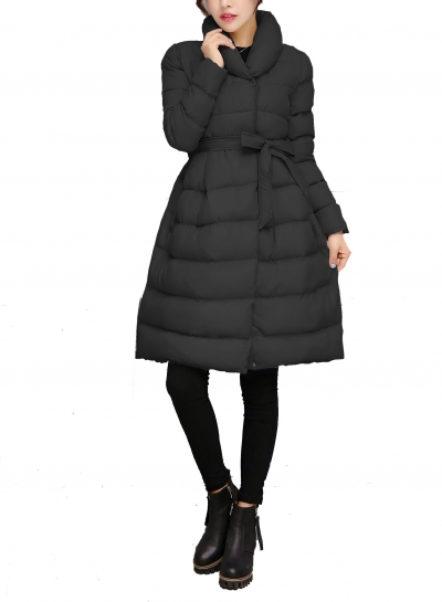 A-Line Flared Long Down Jacket Puffer Coat Belt