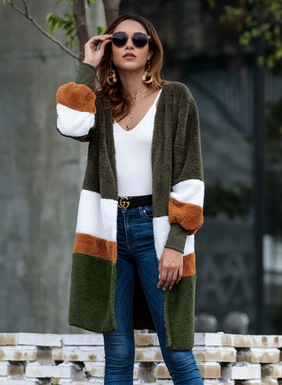 Autumn Winter Mid-length Color Block Cardigan Plush Coat