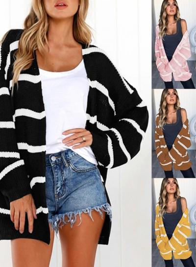 Fashion Striped Pocket Cardigan sweater
