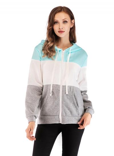 Three Color Block Long Sleeve Zipper Hooded Sweatshirt