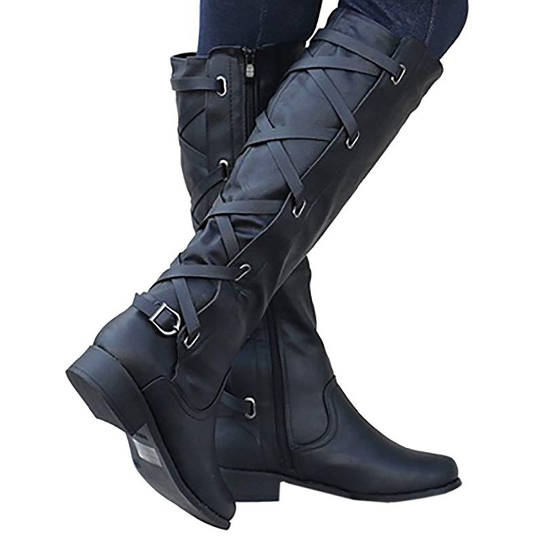 a5d1e012acd8 Winter Tall Riding Leather Strappy Flat Boots STYLESIMO.com. Loading zoom