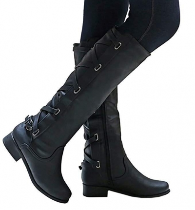 Winter Tall Riding Leather Strappy Flat