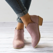 Plain Laciness Outdoor Ankle Booties