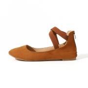 Plain Flat Velvet Ankle Strap Flats