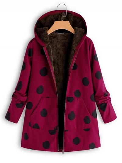 Vintage Polka Dots Hoodie Zipper Coat