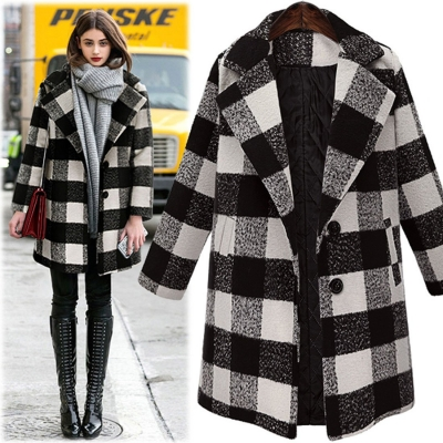 Plaid Tweed Padded Overcoat