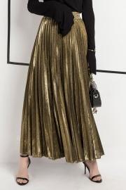 Luster Elegant Pleated A Line Waist Skirt