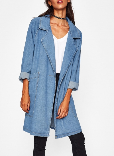 Long Denim Coat  Trench Coat Outwear