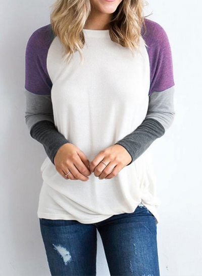 Color Block Long Sleeve Loose Fit Pullover Shirts Tops