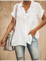 Summer Cool Solid Color V-Neck Short-Sleeved Casual Wear