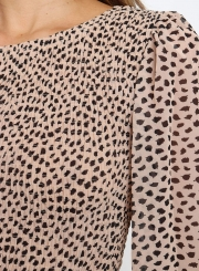 Round Neck Long Sleeve Tiered Midi Dress