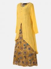 Vintage Print Patchwork Pocket Long Sleeve Plus Size Maxi Dress