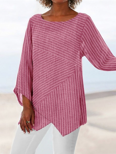 Crew Neck Long Sleeve Paneled Holiday Shirts & Tops