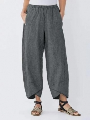 Summer Pockets Striped Casual Capri Pants