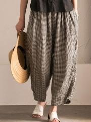 Plus Size Pockets Shift Checkered/Plaid Casual Pants
