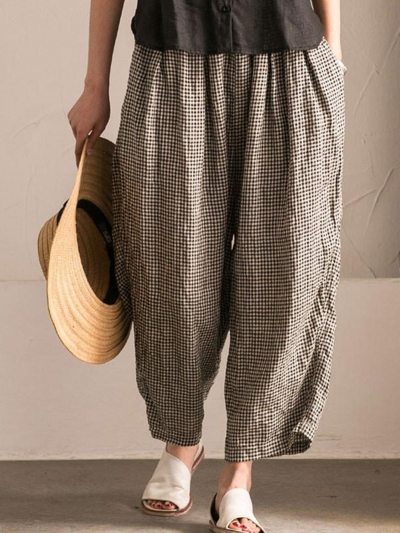 Plus Size Pockets Shift Checkered/Plaid Casual Pants