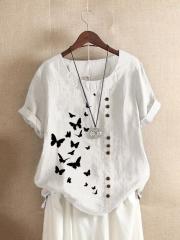 Butterflies Print Button Short Sleeve Casual T-shirt For Women