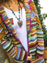 Multicolor Tribal Long Sleeve Sweater