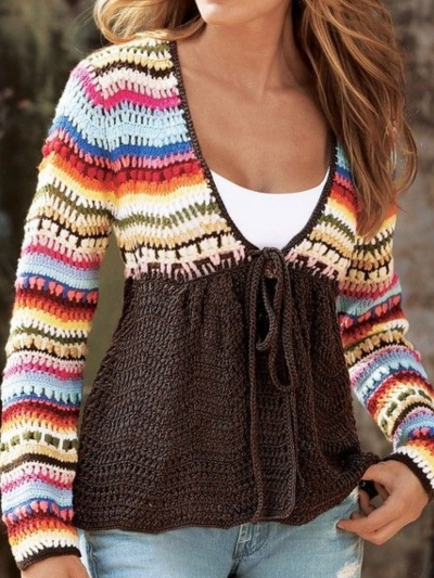 V Neck Tribal Knitted Long Sleeve Sweater