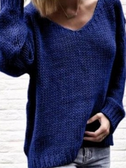 Plain Casual V Neck Knit Wear Women's Winter Soft Sweaters